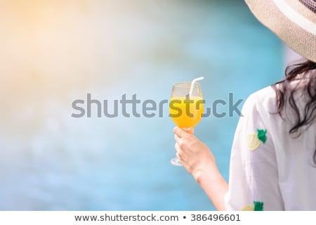 Hat стекла апельсиновый сок готовый наслаждаться Сток-фото © akarelias