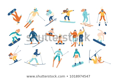 man holding skis vector illustration stock photo © rastudio