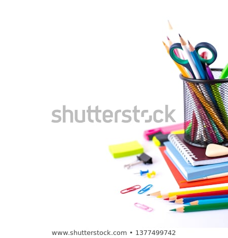 Stock photo: Office supplies on a white background.
