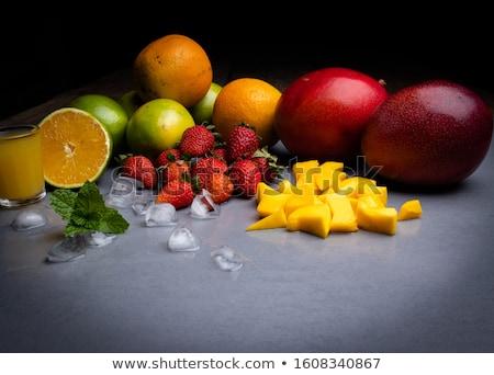 Stock fotó: Friss · eper · koktélok · étel · gyümölcs · üveg