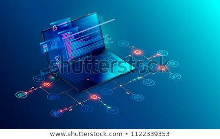 Laptop képernyő seo ellenőrzés 3d illusztráció leszállás Stock fotó © tashatuvango