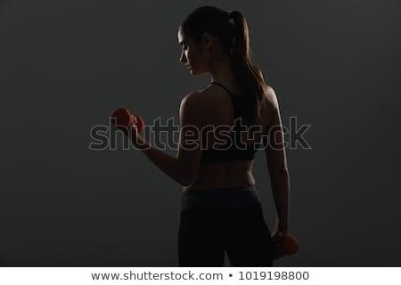 женщину · красный · гантели · блондинка - Сток-фото © master1305