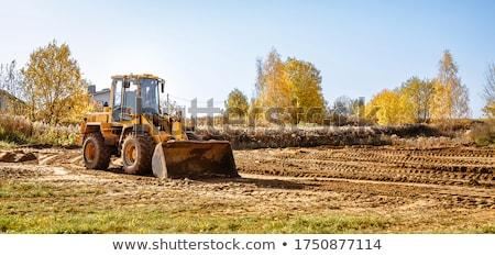 Buldózer mező citromsárga építkezés Izland munka Stock fotó © michaklootwijk