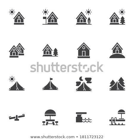 vetor · camping · bússola · isolado · branco · mapa - foto stock © dashadima