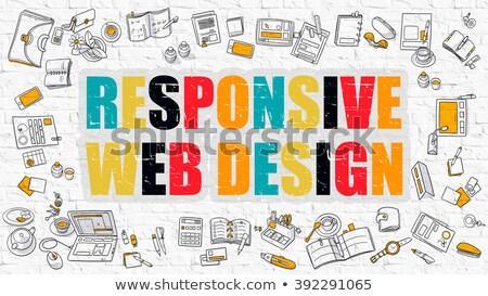Responsive Web Design Concept. Multicolor on White Brickwall. Stock photo © tashatuvango