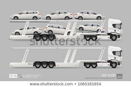 Semi truck with car carrier trailer Stock photo © stevanovicigor