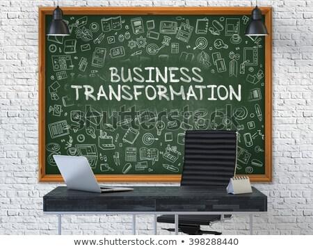 business transformation   hand drawn on green chalkboard stock photo © tashatuvango