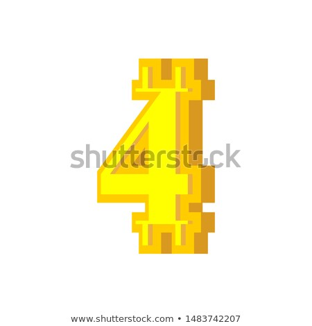 4 numeral bitcoin font. four numeric Crypto currency alphabet. L Stock photo © popaukropa