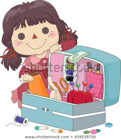Kid Mädchen Puppe Nähen Veranstalter Stock foto © lenm