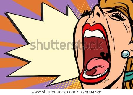 Close-up face pop art woman screaming rage Stock photo © rogistok