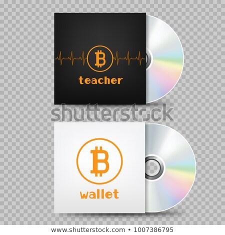 Compact disc bitcoin dekken transparant witte zwarte Stockfoto © romvo