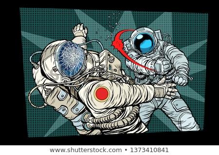 Deux lutte espace guerre pop art rétro Photo stock © studiostoks