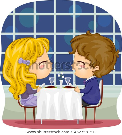 Kids Couple Date Fine Dining Stock photo © lenm