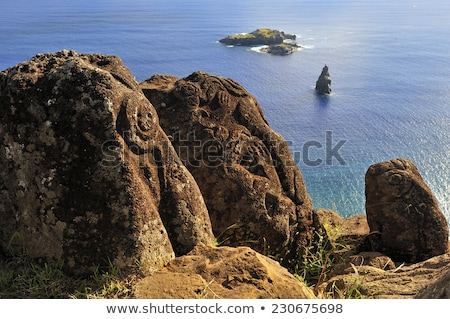 Easter island cliffs and pacific ocean landscape Stock photo © daboost