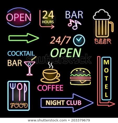 Bira zaman neon hızlı kolay Stok fotoğraf © Voysla