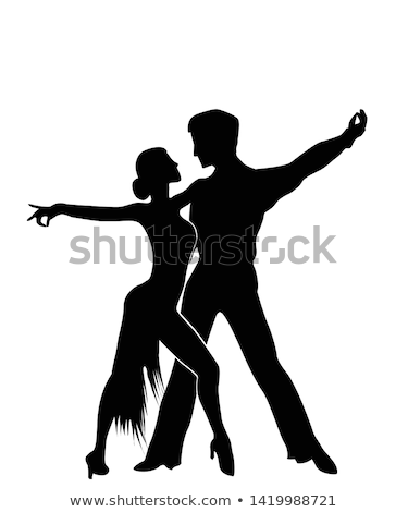 dança · silhueta · ilustração · isolado · romântico - foto stock © tiKkraf69