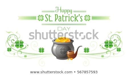 Foto stock: Feliz · día · verde · caer · trébol