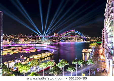 Sydney's city buildings illuminated with colours during Vivid Sy Stock photo © lovleah