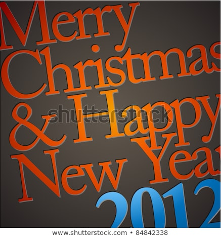 Merry Christmas Illustration on Orange Background with Typography and Holiday Light Garland, Pine Br stock photo © articular