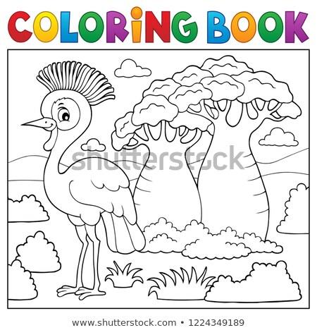 Livro para colorir africano natureza tópico árvore livro Foto stock © clairev