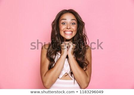 Obraz zadowolony kobieta 20s długie włosy Zdjęcia stock © deandrobot
