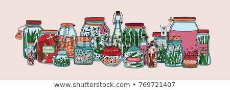 Bewaard voedsel banners ingesteld vruchten bes Stockfoto © robuart