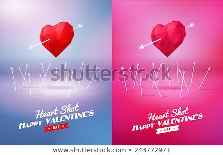 Rojo corazón flecha origami aislado blanco Foto stock © brulove