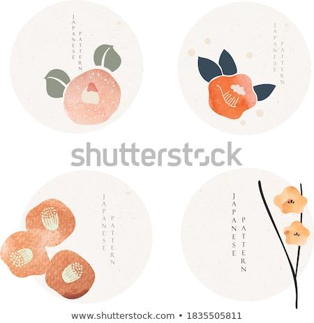 geometric red flower vector icon sign Stock photo © blaskorizov