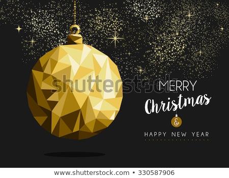 christmas · nieuwjaar · goud · laag · ornament · kaart - stockfoto © cienpies
