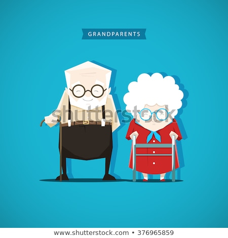 Happy senior couple - cartoon people characters isolated illustration Stock photo © Decorwithme