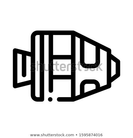 desenho · animado · foguete · alienígena · planeta · ilustração · retro - foto stock © pikepicture