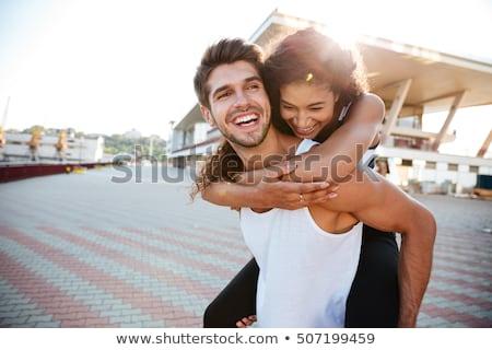 Stockfoto: Portret · gelukkig · denim · permanente · samen