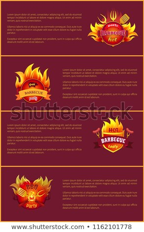 Grill Party Hot Barbeque Fest Vector Posters Set Stock photo © robuart