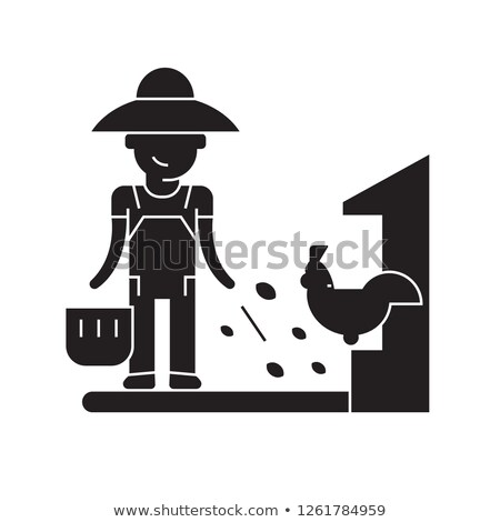 Farmer Feeding Chickens Set Vector Illustration Stock photo © robuart