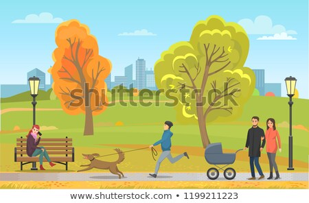 pet with owner and family in autumn park vector stock photo © robuart