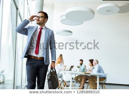 Foto stock: Jovem · empresário · folhas · reunião · outro · pessoas