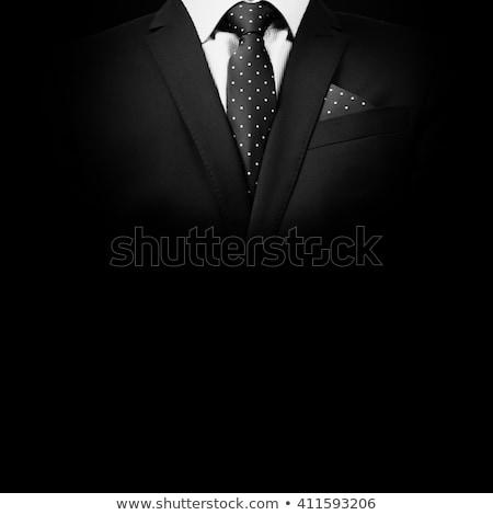 Portret knap mode man zwart pak permanente Stockfoto © feedough