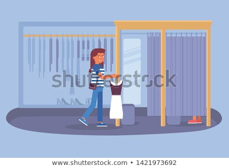 Woman Client in Changing Room Shopping Vector Stock photo © robuart