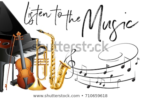 Saxophone and word music on white background Stock photo © colematt