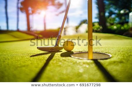 Сток-фото: Mini Golf Yellow Ball With A Bat Near The Hole At Sunset