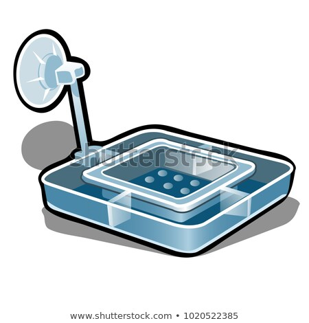 Plastic feeder for aquarium fish isolated on white background. Vector cartoon close-up illustration. Stock photo © Lady-Luck