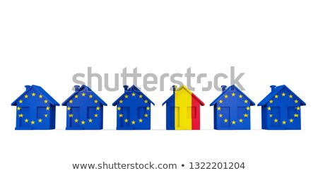 House with flag of romania in a row of EU flags Stock photo © MikhailMishchenko