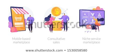 Niche szolgáltatás piactér pici emberek vásárlók Stock fotó © RAStudio