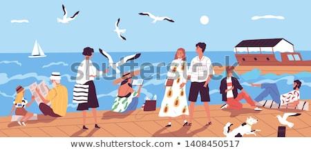 Menina cais mar ilustração praia nuvens Foto stock © smeagorl