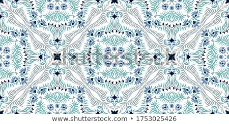 Spanish or Portuguese tiles vector pattern - Azulejos tile seamless design in turquoise and yellow Stock photo © RedKoala