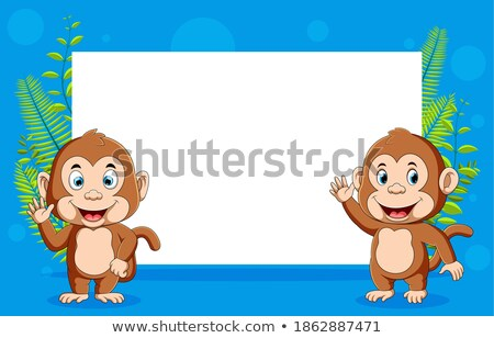 Monkey and blank paper template stock photo © colematt