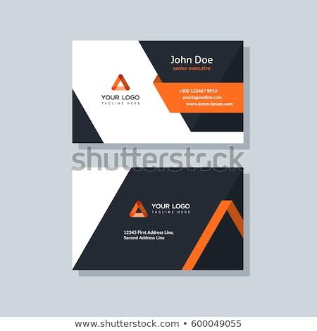 geometric orange business card template Stock photo © SArts
