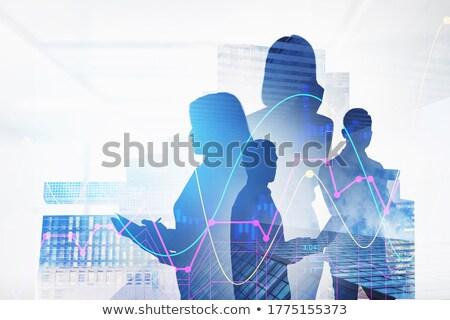 Silhueta mulher de negócios bolsa de valores infográficos feminino comércio Foto stock © ConceptCafe