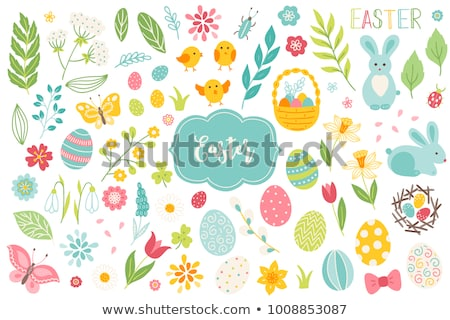set of easter design elements hand drawn eggs chicken flowers tulips birds rabbit and calligra stock photo © brahmapootra