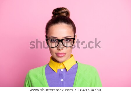 Vert vêtements verres fille Photo stock © toyotoyo